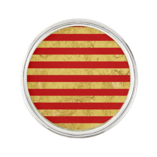 Elegant Gold Foil and Red Stripe Pattern Lapel Pin