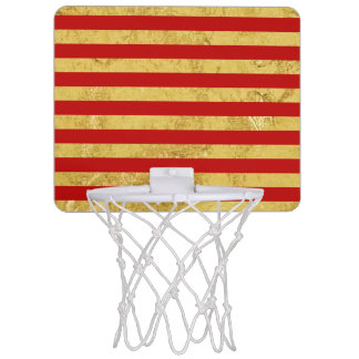 Elegant Gold Foil and Red Stripe Pattern Mini Basketball Hoop