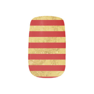 Elegant Gold Foil and Red Stripe Pattern Minx Nail Art