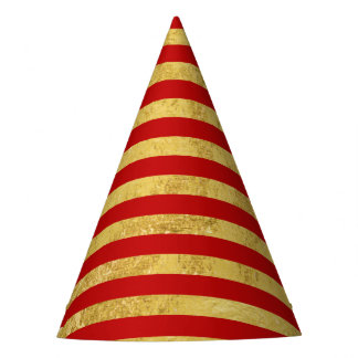 Elegant Gold Foil and Red Stripe Pattern Party Hat