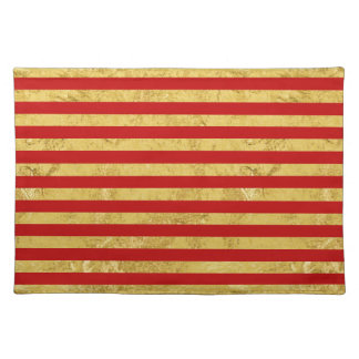 Elegant Gold Foil and Red Stripe Pattern Placemat