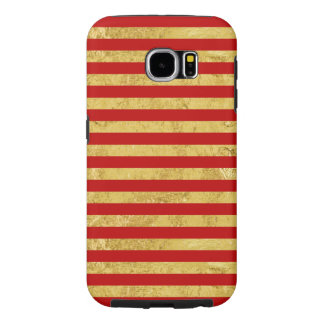 Elegant Gold Foil and Red Stripe Pattern Samsung Galaxy S6 Cases