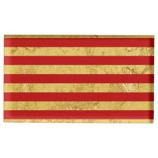 Elegant Gold Foil and Red Stripe Pattern Table Number Holder