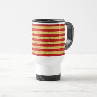 Elegant Gold Foil and Red Stripe Pattern Travel Mug