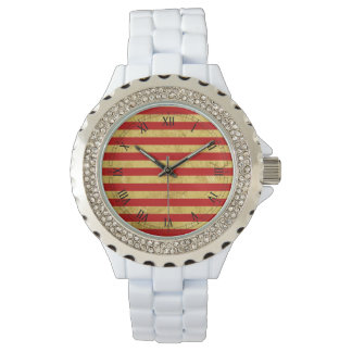Elegant Gold Foil and Red Stripe Pattern Watch