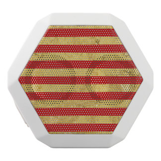 Elegant Gold Foil and Red Stripe Pattern White Bluetooth Speaker