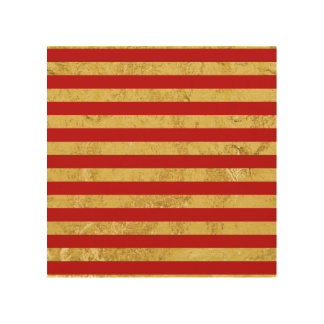 Elegant Gold Foil and Red Stripe Pattern Wood Wall Decor