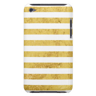 Elegant Gold Foil and White Stripe Pattern Barely There iPod Cover