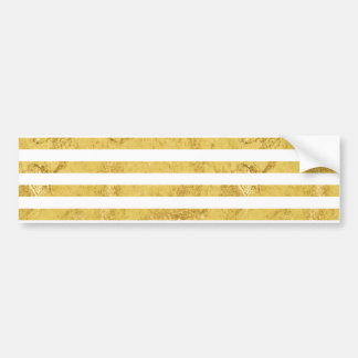 Elegant Gold Foil and White Stripe Pattern Bumper Sticker