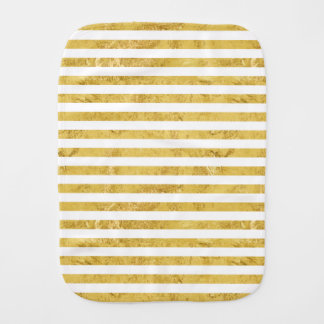 Elegant Gold Foil and White Stripe Pattern Burp Cloth
