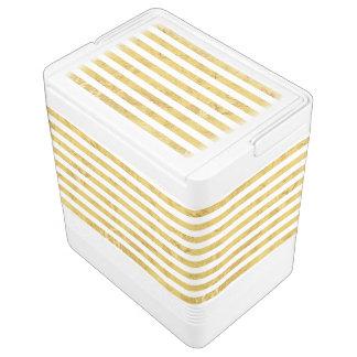 Elegant Gold Foil and White Stripe Pattern Cooler