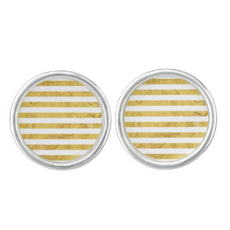 Elegant Gold Foil and White Stripe Pattern Cuff Links