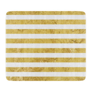 Elegant Gold Foil and White Stripe Pattern Cutting Board
