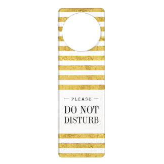 Elegant Gold Foil and White Stripe Pattern Door Hanger