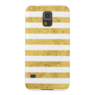 Elegant Gold Foil and White Stripe Pattern Galaxy S5 Cover