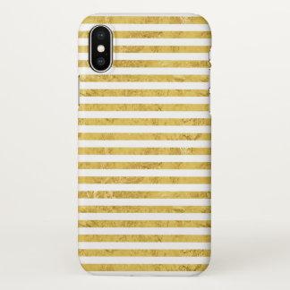 Elegant Gold Foil and White Stripe Pattern iPhone X Case