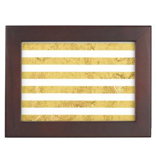 Elegant Gold Foil and White Stripe Pattern Keepsake Box