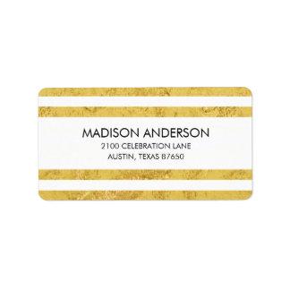 Elegant Gold Foil and White Stripe Pattern Label