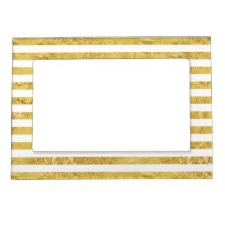 Elegant Gold Foil and White Stripe Pattern Magnetic Frame