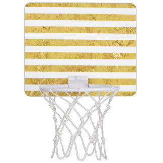 Elegant Gold Foil and White Stripe Pattern Mini Basketball Hoop