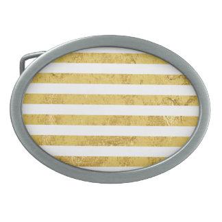 Elegant Gold Foil and White Stripe Pattern Oval Belt Buckles