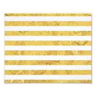 Elegant Gold Foil and White Stripe Pattern Photo Print