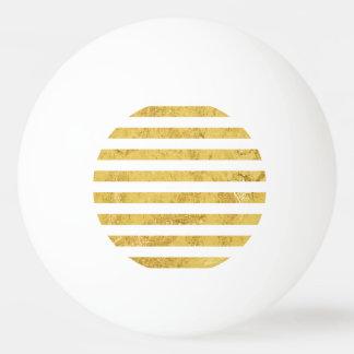 Elegant Gold Foil and White Stripe Pattern Ping Pong Ball