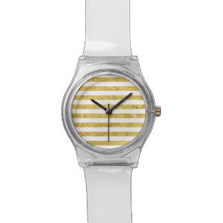 Elegant Gold Foil and White Stripe Pattern Watch