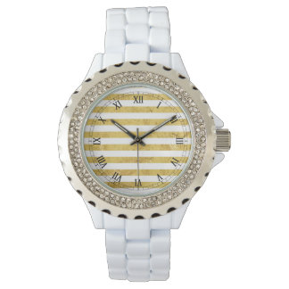 Elegant Gold Foil and White Stripe Pattern Watch
