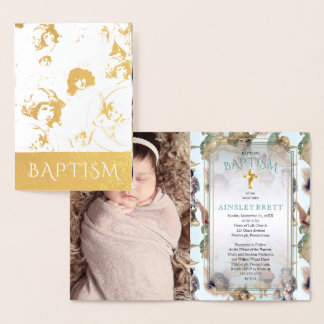 Elegant Gold Foil Angels Baby Girl Photo Baptism Foil Card