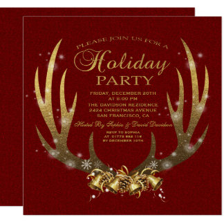 Elegant Gold Foil Antlers Holiday Party Invitation