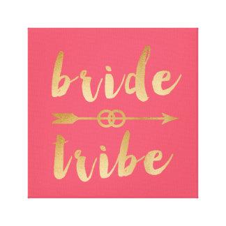 elegant gold foil bride tribe arrow wedding rings canvas print