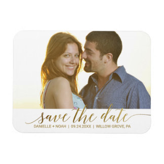 Elegant Gold Foil Calligraphy Save the Date Photo Rectangular Photo Magnet