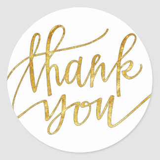 elegant gold foil calligraphy thank you round sticker