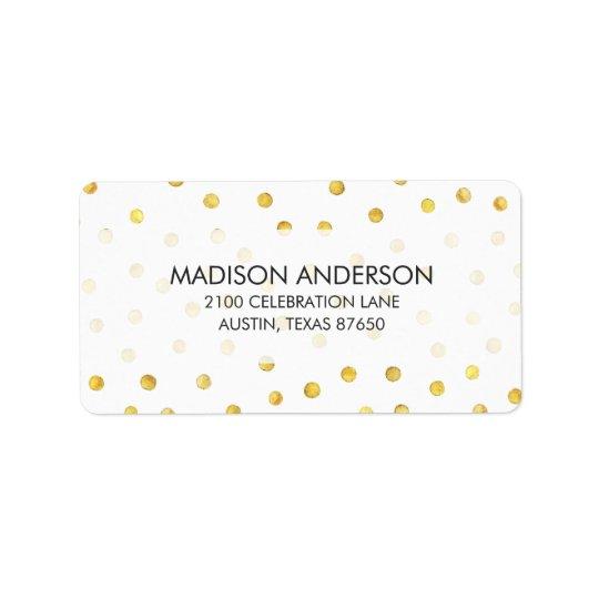 Elegant Gold Foil Confetti Dots Address Label