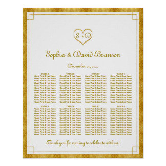 Elegant Gold Foil Heart Frame Weddin Seating Chart Poster