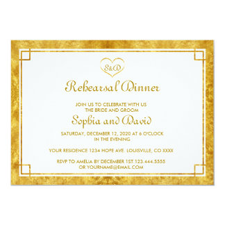 Elegant Gold Foil Heart REHEARSAL DINNER Invite