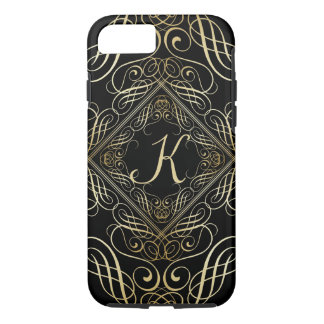 Elegant Gold Foil Look Scrollwork Script on Black iPhone 7 Case