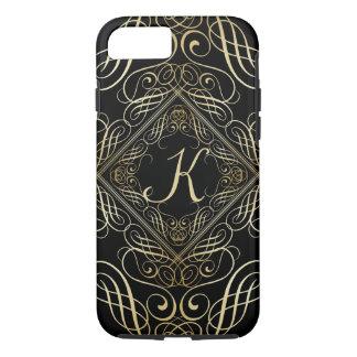 Elegant Gold Foil Look Scrollwork Script on Black iPhone 8/7 Case