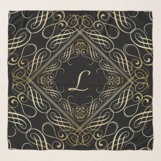 Elegant Gold Foil Look Scrollwork Script on Black Scarf