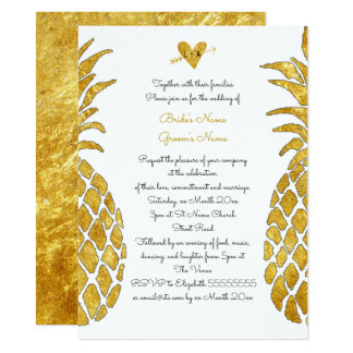 elegant gold foil look tropical summer wedding 14 cm x 19 cm invitation card