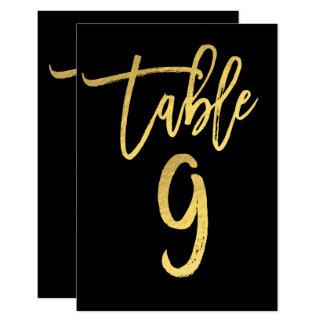 Elegant Gold Foil Modern Script Table Number 9