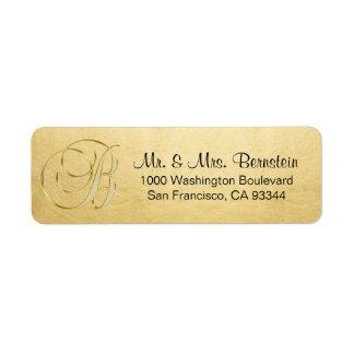 Elegant Gold Foil Monogram Letter B Return Address Return Address Label