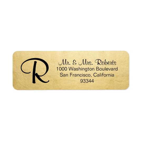 Elegant Gold Foil Monogram Letter Return Address Return Address Label