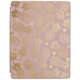 elegant gold foil pineapple polka dots pattern iPad smart cover