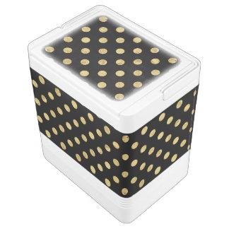 Elegant Gold Foil Polka Dot Pattern - Gold & Black Cooler
