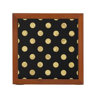 Elegant Gold Foil Polka Dot Pattern - Gold & Black Desk Organiser