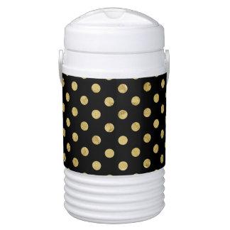 Elegant Gold Foil Polka Dot Pattern - Gold & Black Drinks Cooler