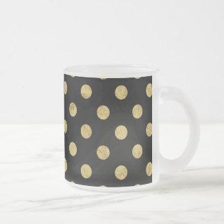 Elegant Gold Foil Polka Dot Pattern - Gold & Black Frosted Glass Coffee Mug