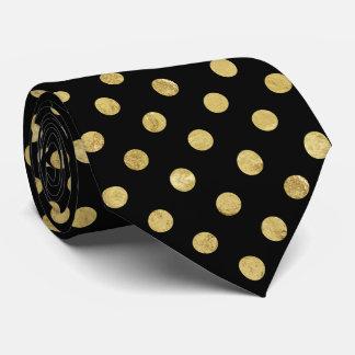 Elegant Gold Foil Polka Dot Pattern - Gold & Black Tie